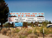Western Skys RV Park Sign across from Vado, NM between Las Cruces NM and El Paso TX